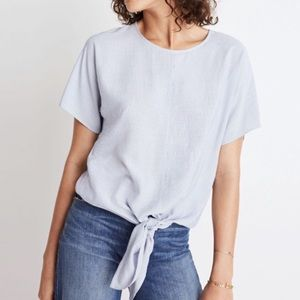 Madewell button back tie front top skinny stripe